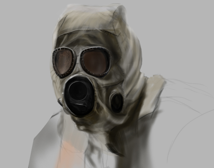 Gas Mask Digital Painting in Photoshop